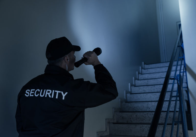 security guard in stairwell