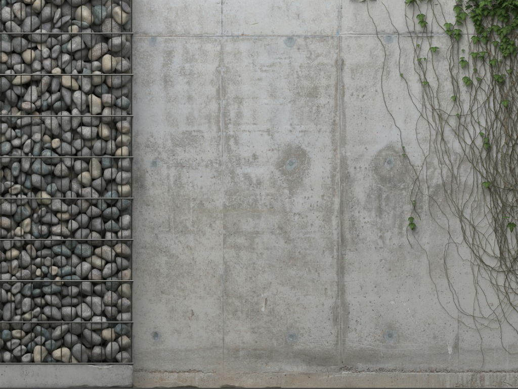 concrete wall with decorative details