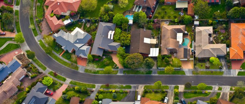 aerial view of melbourne suburban houses