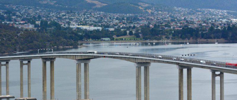 tasman bridge with mountains in the background