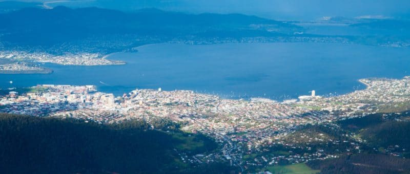 aerial view of Hobart